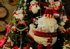 Toy, puppet, cloth,Christmas. Santa claus puppet on the decorate christmas tree Stock Image
