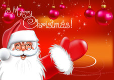 Christmas. Santa Claus. Red background. Vector dra Stock Photo