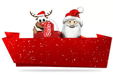 Christmas santa claus red banner and snowflakes 3d render Royalty Free Stock Photos