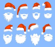 Christmas Santa Claus red hats with white moustaches and beards Royalty Free Stock Photo