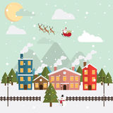 Christmas santa claus and reindeer snow moon night Stock Images