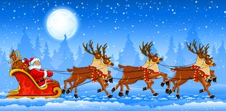 Christmas Santa Claus riding on sleigh. With reindeers by snow. Vector illustration Stock Image