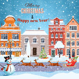 Christmas Santa Claus riding on sleigh. With Christmas Reindeer on winter city street. concept for greeting and postal card, invitation, template, vector Royalty Free Stock Photography