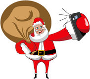 Christmas Santa Claus Selfie Isolated Smartphone Sack Royalty Free Stock Photo