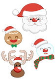 Christmas Santa Claus set. Element for Christmas party set with cute Santa Claus and gingerbread and snowman and deer Royalty Free Stock Photo