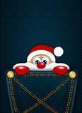 Christmas santa claus sitting in pocket Royalty Free Stock Images