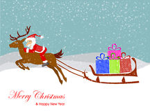Christmas Santa Claus  on the sledge with reindeer and gifts. Stock Image