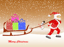 Christmas Santa Claus  on the sledge with reindeer and gifts. Christmas Santa Claus on the sledge with reindeer and gifts Stock Images