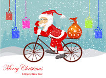 Christmas Santa Claus  on the sledge with reindeer and gifts. Royalty Free Stock Images