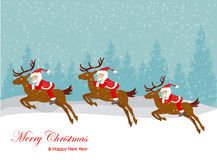 Christmas Santa Claus  on the sledge with reindeer and gifts. Stock Images