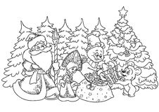 Christmas Santa Claus, snowman bear Royalty Free Stock Image