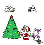 Christmas Santa Claus snowman cartoon illustration Royalty Free Stock Photos