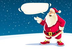 Christmas Santa Claus speaking with message cloud. Vector Illustration
