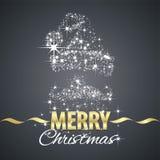 Christmas Santa Claus symbol stardust black background. Vector Stock Photo