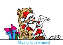 Christmas Santa Claus throne gifts list cartoon Stock Images