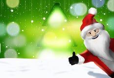 Christmas Santa Claus Thumbs Up 3D Render Cartoon Stock Images