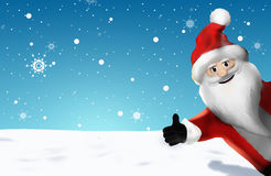 Christmas Santa Claus Thumbs Up 3D Render Cartoon Royalty Free Stock Photo