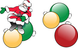 Christmas Santa Claus with tree ornaments. Collection of three sketch illustrations of pretty Santa helpers bearing gifts with ribbons. Simple, colorful Royalty Free Stock Photos