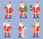 Christmas Santa Claus vector character poses illustration Xmas man in red traditional costume and Santa hat Royalty Free Stock Photography
