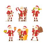 Christmas santa claus vector illustration. Vector red hat happy new year Santa Claus character. Merry Christmas cut funny man Santa Claus traditional december Royalty Free Stock Images