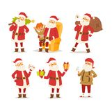 Christmas santa claus vector illustration. Vector red hat happy new year Santa Claus character. Merry Christmas cut funny man Santa Claus traditional december Royalty Free Stock Photos