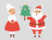 Christmas Santa Claus and wife vector character pose with vector illustration