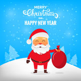 Christmas Santa Claus. Santa Claus in winter snow scene with bag Royalty Free Stock Photos