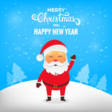 Christmas Santa Claus. Santa Claus in winter snow scene. Merry Christmas Royalty Free Stock Photo