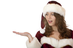 Christmas Santa Claus Woman holds virtual gift Stock Photography