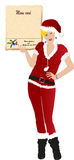 Christmas santa claus women with menu card Stock Photography