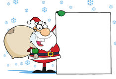 Christmas Santa clause presenting a blank sign Royalty Free Stock Photography