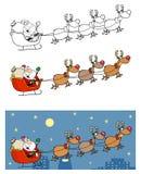 Christmas santa clause sleigh with reindeer Royalty Free Stock Photos