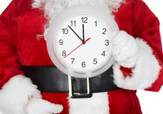 Christmas  Santa with a clock Royalty Free Stock Images