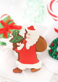 Christmas Santa cookies on the white background Stock Photos