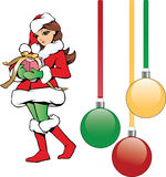 Christmas Santa cute girl helper. Simple sketch illustration of cute Christmas girl Santa helper bearing gift with ribbon. Art also includes dangling Christmas Stock Photo