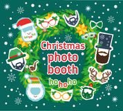 Christmas Santa and deer photo booth vector props and decoration. Stock Image