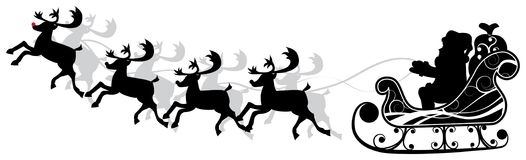 Christmas santa and deers, vector royalty free stock photo
