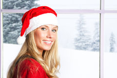 Christmas santa girl. A portrait of a beautiful caucasian christmas santa girl Royalty Free Stock Photos