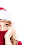 Christmas santa girl. A portrait of a beautiful caucasian christmas santa girl Stock Photography