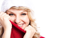 Christmas santa girl Stock Photography