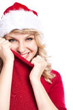 Christmas santa girl. A portrait of a beautiful caucasian christmas santa girl Royalty Free Stock Photo