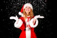 Christmas santa girl on black Stock Photography