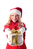 Christmas santa girl with gift Stock Photo