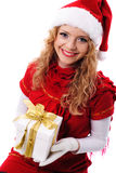 Christmas santa girl with gift Stock Images