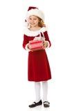 Christmas: Santa Girl Holds Christmas Gift Royalty Free Stock Photo