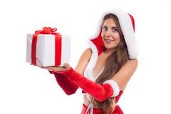 Christmas Santa girl  isolated woman portrait hold christmas gif Royalty Free Stock Photography