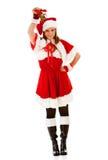 Christmas: Santa Girl with Mistletoe stock image