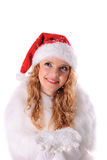 Christmas santa girl with snow Royalty Free Stock Photo