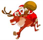 Christmas santa going spirit with deer sharing present royalty free stock photo
