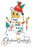 Christmas Santa greeting design for Christmas holiday. Royalty Free Stock Photos